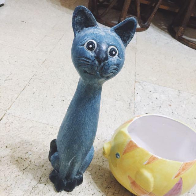 國外帶回 貓咪 擺飾 木製 送旁邊的魚~~ 貓