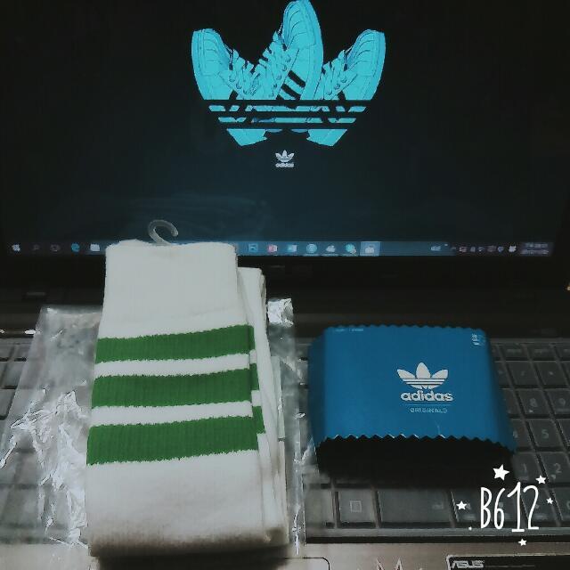 全新adidas襪子 長襪 綠色條紋長襪