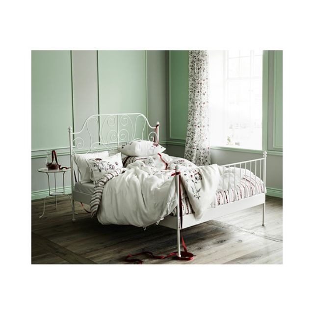 IKEA Queen Size LEIRVIK Bed Frame With Luroy Slatted Base Furniture