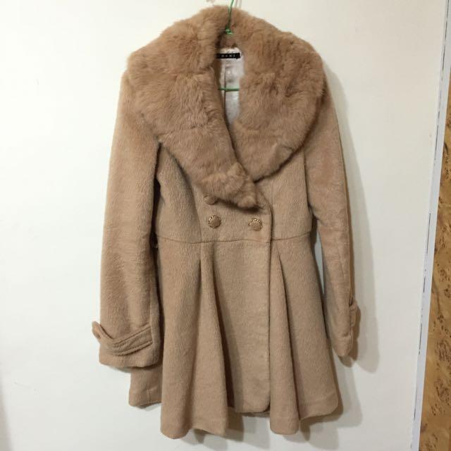 ingni兔毛雙排扣外套