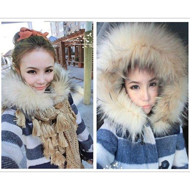 雜誌款lena著用RYZA 超大貉子毛領海軍條紋牛角扣格子羊毛呢外套大衣