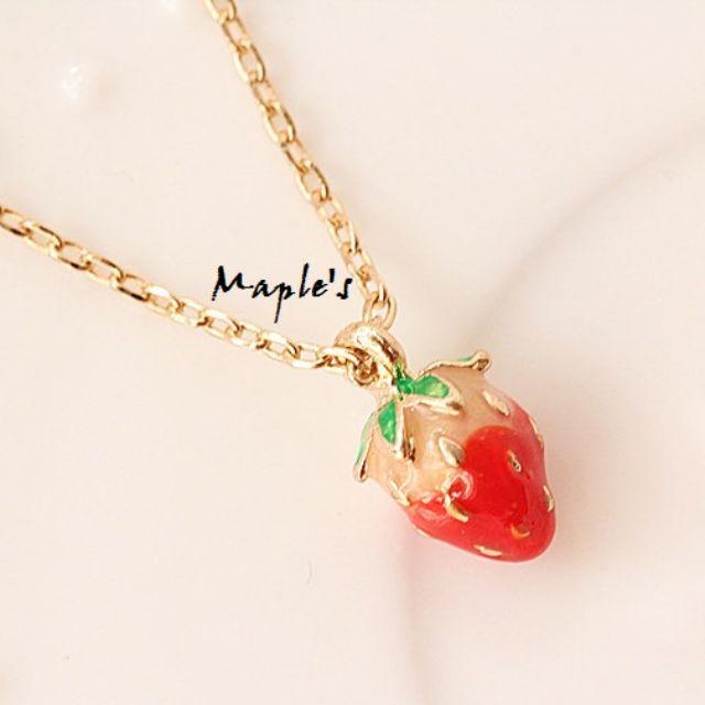 Maple's 日系滴釉釉彩可愛小草莓項鍊