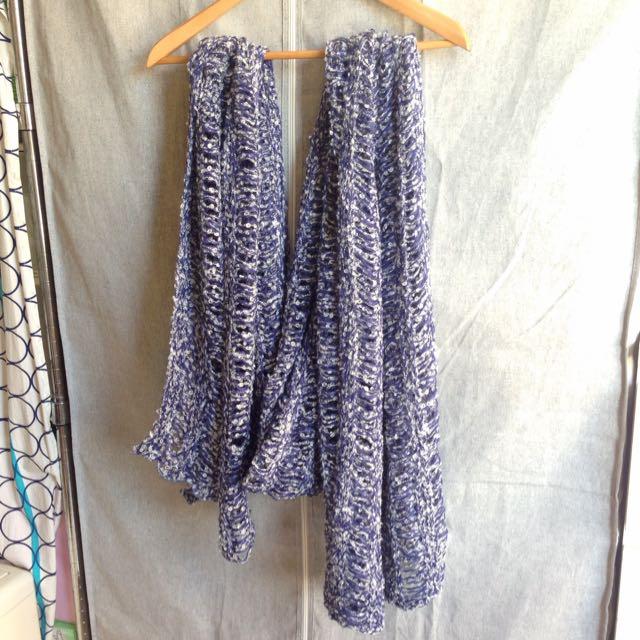 pazzo深藍/白色粗鉤織圍巾