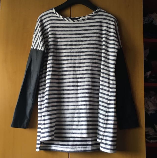 PVC Sleeve Cotton On Striped Top