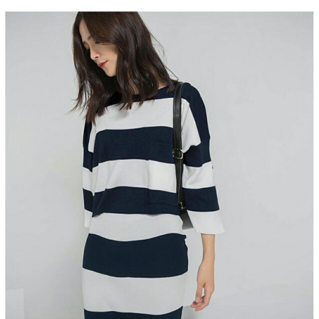 Starmimi 藍白寬橫條針織套裝