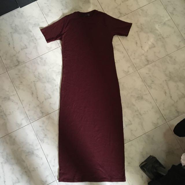 Zara Midi Dress In Maroon