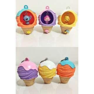 迪士尼扭蛋 冰淇淋造型吊飾 YUJIN (史迪奇 笑笑貓 維尼熊) 絕版