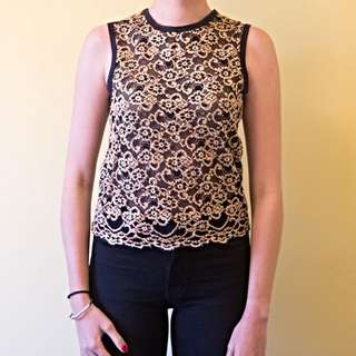 Cream And Black Lace Top