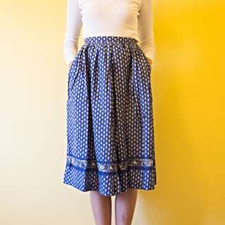 Blue And White High Waisted Skirt