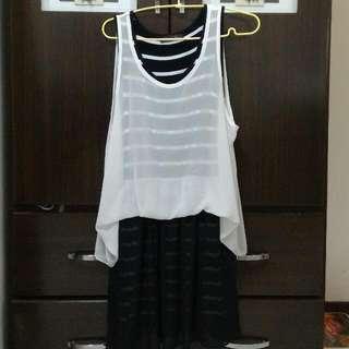 雪紡無袖條紋連身洋裝