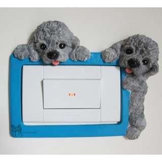 灰色 貴賓犬 立體 造型 狗狗 插座 插頭 開關 貼/罩 裝飾
