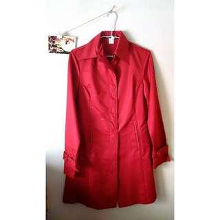 二手 顯瘦縮腰 風衣外套 紅色