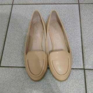 Grace gift 真皮平底娃娃鞋(附盒) 近全新 22.5 23