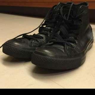 ☝Converse 黑皮 高統鞋 25cm