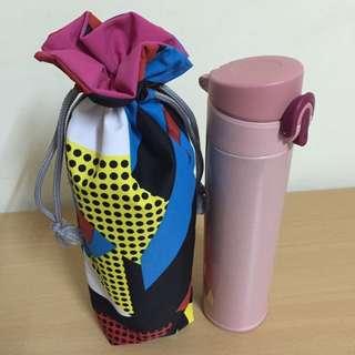 保溫瓶雙面防水束口收納袋(手作~獨一無二花色)
