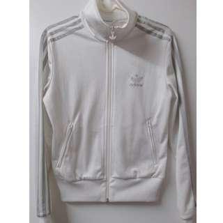 Adidas愛迪達全白銀色logo立領外套