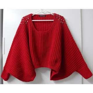 🇰🇷韓國空運 ✈️正韓 紅色針織短版寬袖厚料上衣