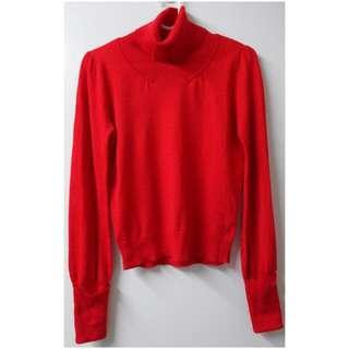 正紅色長袖合身套頭高領薄料毛衣