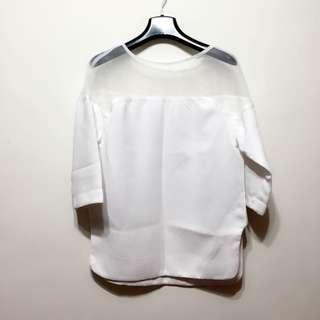 含運🌙白色半透視七分袖上衣
