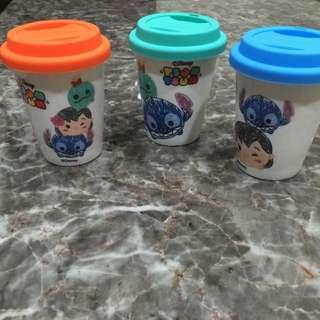 迪士尼tsum Tsum陶瓷杯附蓋3入組 馬克杯 咖啡杯