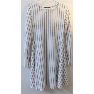 🇯🇵日本空運 ✈️ 棉質灰白條紋腰身傘狀棉質洋裝