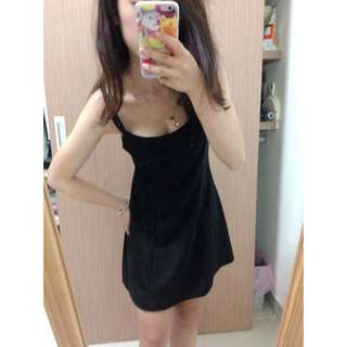 黑色細肩帶洋裝裙
