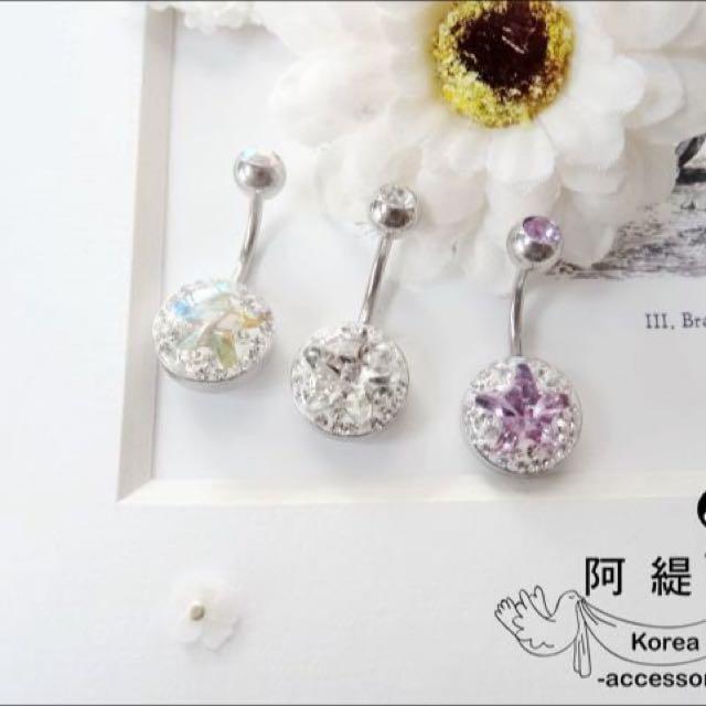 316L鋼針 韓國包膜滿鑽肚環