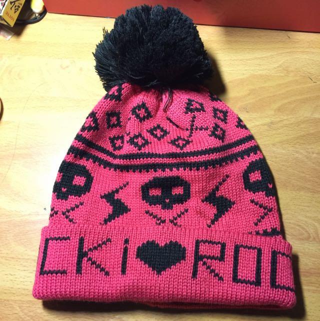 粉紅色可愛毛帽