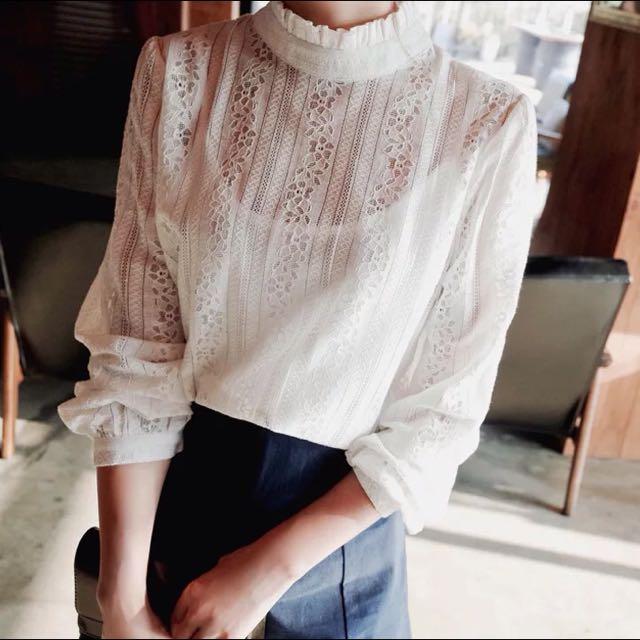 她很漂亮~高俊熙款簍空蕾絲襯衫