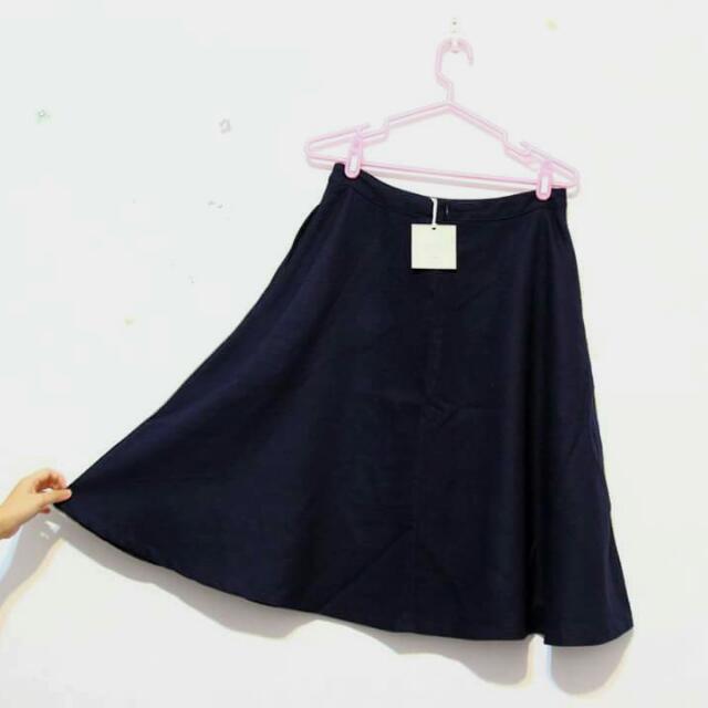 冬季-深藍過膝裙
