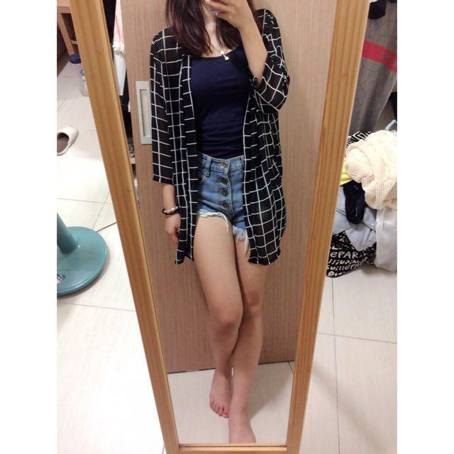 黑色格子雪紡罩衫