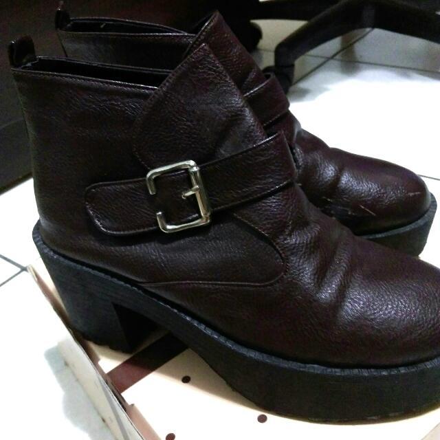 厚底靴(深棕色)