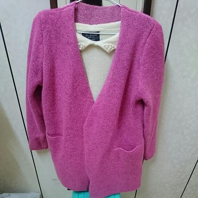 🎉粉桃紅 針織外套