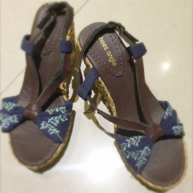 女鞋 涼鞋 楔型 厚底 38號