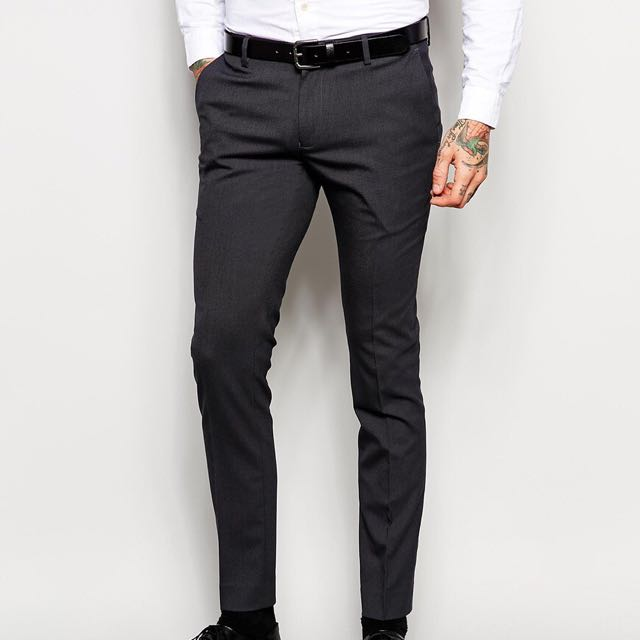77150ae917e0 ASOS Super Skinny Smart Trousers Charcoal