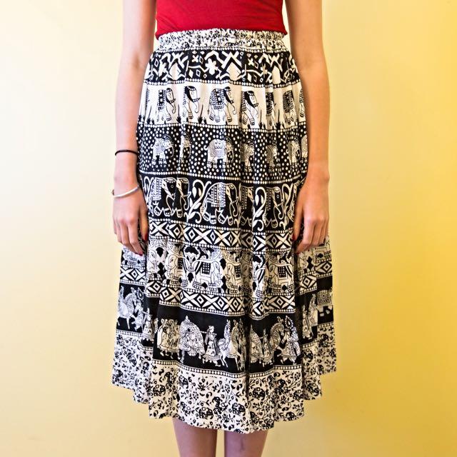 Black And White Elephant Skirt