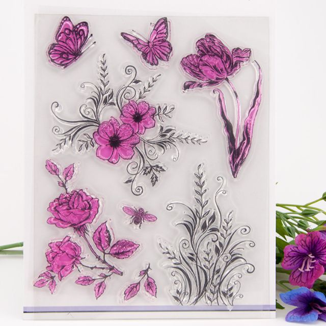 Clearance: Flowers and butterfly clear stamp set