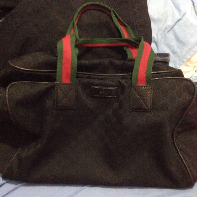 Gucci黑色緹花布旅行肩背袋