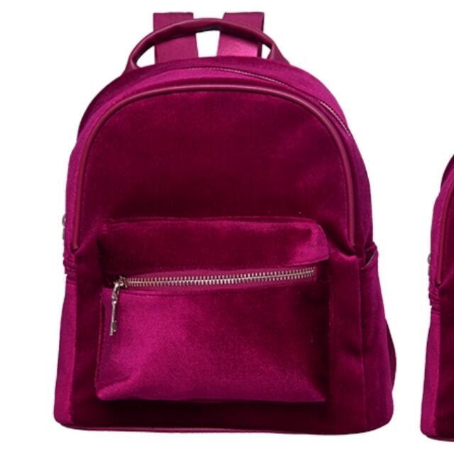Maroon Velvet Bagpack NO TRADES