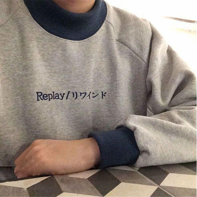 原宿古著字母Replay刺繡圓領半高領加絨長袖上衣