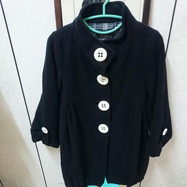 🎉Veeko 黑色羊毛外套 厚 保暖