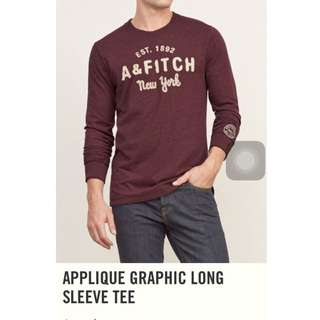 AF A&F Abercrombie Fitch Applique Graphic Long Sleeve Tee