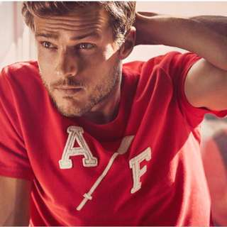 AF A&F Abercrombie Fitch Applique Logo Graphic Tee