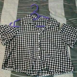 Checkered Black White Off Shoulder