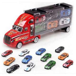 (現貨350)兒童玩具跑車組內有12台小車
