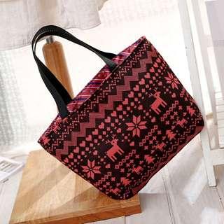 雪花民族風針織手提包