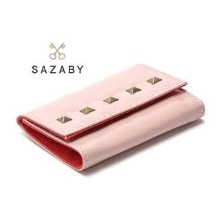 日系SAZABY粉色鉚釘小錢包