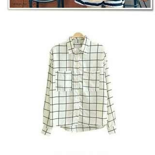 線條格紋雪紡衣
