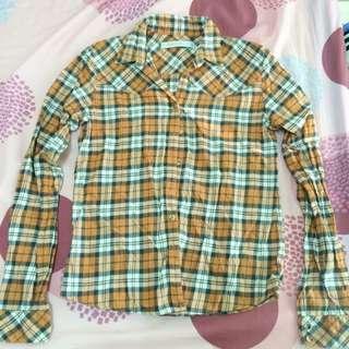 Giordano格子襯衫(橘色)