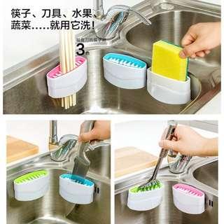 廚房水槽吸盤刀具筷子瓜果去泥清洗刷【現貨+預購】
